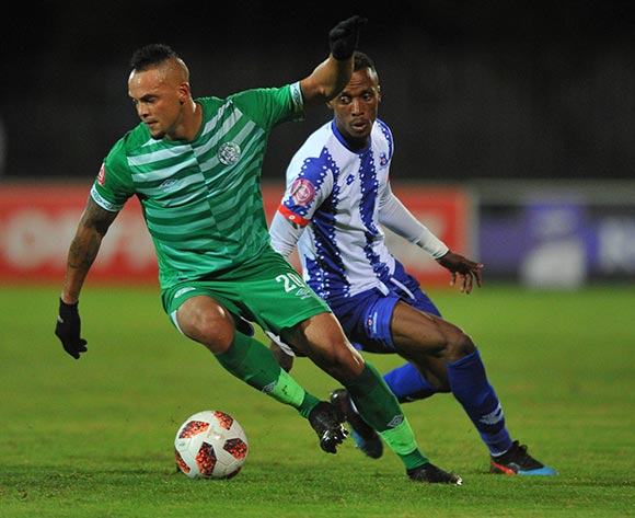 Ryan De Jongh of Bloemfontein Celtic is challenged by Yannick Zakri of Maritzburg United  during the Absa Premiership match between Maritzburg United and Bloemfontein Celtic on the 05 April 2019 at Harry Gwala Stadium  Pic Sydney Mahlangu/ BackpagePix