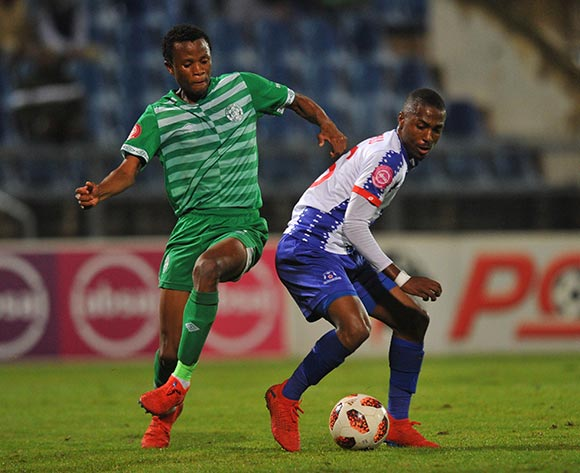Bongani Sam of Bloemfontein Celtic tackles Bandile Shandu of Maritzbiurg United during the Absa Premiership match between Maritzburg United and Bloemfontein Celtic on the 05 April 2019 at Harry Gwala Stadium  Pic Sydney Mahlangu/ BackpagePix