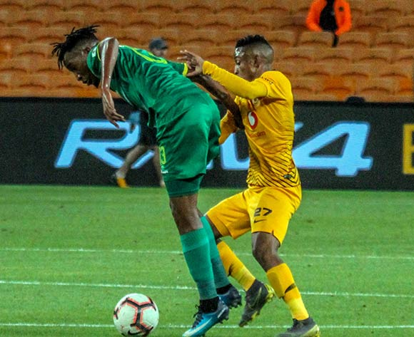 Matome Mabeba of Baroka FC challenged by Pule Ekstein of Kaizer Chiefs during the Absa Premiership 2018/19 game between Kaizer Chiefs and Baroka FC at Bidvest Stadium in Polokwane the on 06 April 2019 ©Lebo Edgar/BackpagePix