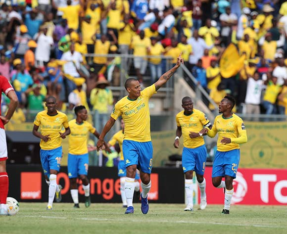 Wayne Arendse of Sundowns celebrates goal  during the 2018/19 CAF Champions League football match between Sundowns and Al Ahly  at Lucas Moripe Stadium, Pretoria on 06 April 2019 ©Gavin Barker/BackpagePix