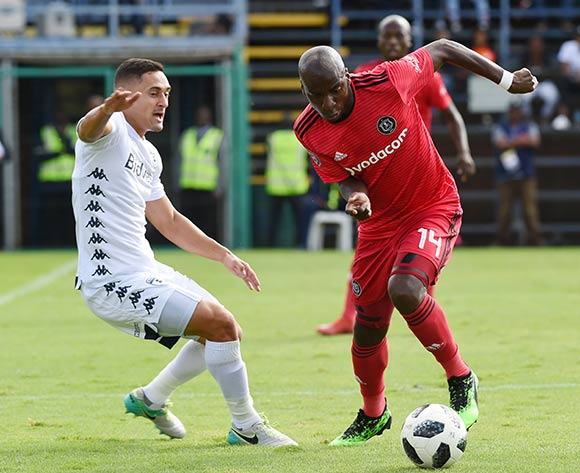 Musa Nyatama of Orlando Pirates controls the ball away from Cole Alexander of Bidvest Wits F.C.during the Absa Premiership 2018/19 game between Bidvest Wits and Orlando Pirates at Bidvest Stadium in Polokwane the on 06 April 2019 ©BackpagePix