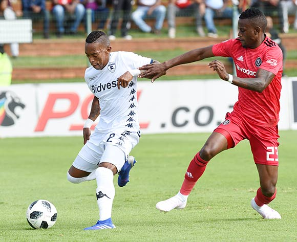 Vuyo Mere of Bidvest Wits shields Innocent Maela of Orlando Pirates away from the ball during the Absa Premiership 2018/19 game between Bidvest Wits and Orlando Pirates at Bidvest Stadium in Polokwane the on 06 April 2019 ©BackpagePix
