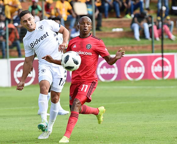 Luvuyo Memela of Orlando Pirates and Cole Alexander of Bidvest Wits F.C. fight for the same ball during the Absa Premiership 2018/19 game between Bidvest Wits and Orlando Pirates at Bidvest Stadium in Polokwane the on 06 April 2019 ©BackpagePix