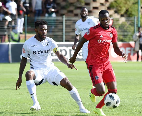 Justin Shonga  of Orlando Pirates competes for the ball with Thulani Thulani Hlatswayo of Bidvest Wits F.C during the Absa Premiership 2018/19 game between Bidvest Wits and Orlando Pirates at Bidvest Stadium in Polokwane the on 06 April 2019 ©BackpagePix