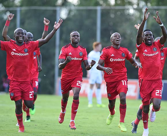 Orlando Pirates players celebrate their winning goal during the Absa Premiership 2018/19 game between Bidvest Wits and Orlando Pirates at Bidvest Stadium in Polokwane the on 06 April 2019 ©BackpagePix