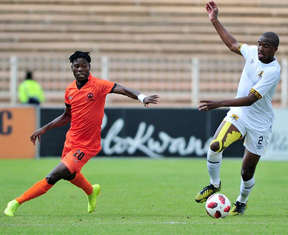 Lehlogonolo Masalesa of Black Leopards and Salulani Phiri of Polokwane City during the Absa Premiership 2018/19 game between Polokwane City and Black Leopards at Peter Mokaba Stadium in Polokwane the on 07 April 2019 © Kabelo Leputu/BackpagePix