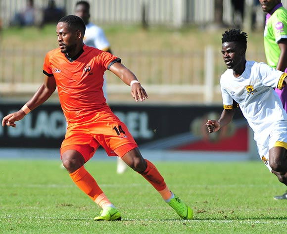 Edgar Manaka of Polokwane City and Lesedi Kapinga of Black Leopards during the Absa Premiership 2018/19 game between Polokwane City and Black Leopards at Peter Mokaba Stadium in Polokwane the on 07 April 2019 © Kabelo Leputu/BackpagePix
