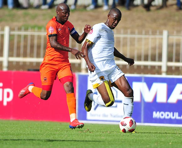 Lehlogonolo Masalesa of  Black Leopards and Jabu Maluleke of Polokwane City during the Absa Premiership 2018/19 game between Polokwane City and Black Leopards at Peter Mokaba Stadium in Polokwane the on 07 April 2019 © Kabelo Leputu/BackpagePix