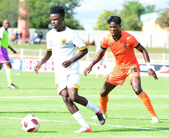 Lesedi Kapinga of Black Leopards and Salulani Phiri of Polokwane City during the Absa Premiership 2018/19 game between Polokwane City and Black Leopards at Peter Mokaba Stadium in Polokwane the on 07 April 2019 © Kabelo Leputu/BackpagePix