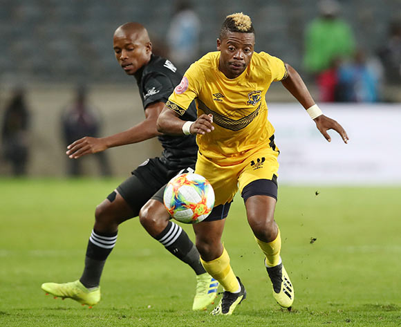Pentjie Zulu of Black Leopards challenged by Luvuyo Memela of Orlando Pirates during the Absa Premiership 2018/19 match between Orlando Pirates and Black Leopards at the Orlando Stadium, Soweto on the 10 April 2019 ©Muzi Ntombela/BackpagePix