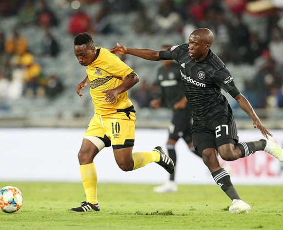 Karabo Tshepe of Black Leopards challenged by Ben Motshwari of Orlando Pirates during the Absa Premiership 2018/19 match between Orlando Pirates and Black Leopards at the Orlando Stadium, Soweto on the 10 April 2019 ©Muzi Ntombela/BackpagePix