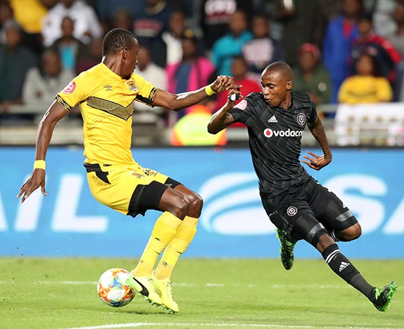 Thembinkosi Lorch of Orlando Pirates challenged by Chris Katjiukia of Black Leopards during the Absa Premiership 2018/19 match between Orlando Pirates and Black Leopards at the Orlando Stadium, Soweto on the 10 April 2019 ©Muzi Ntombela/BackpagePix
