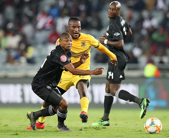 Bereng Tshwarelo of Black Leopards fouls Thabo Qalinge of Orlando Pirates during the Absa Premiership 2018/19 match between Orlando Pirates and Black Leopards at the Orlando Stadium, Soweto on the 10 April 2019 ©Muzi Ntombela/BackpagePix