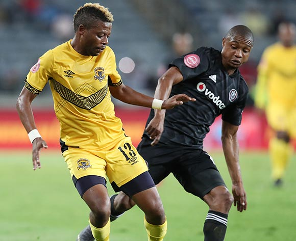 Pentjie Zulu of Black Leopards challenged by Thabo Qalinge of Orlando Pirates during the Absa Premiership 2018/19 match between Orlando Pirates and Black Leopards at the Orlando Stadium, Soweto on the 10 April 2019 ©Muzi Ntombela/BackpagePix