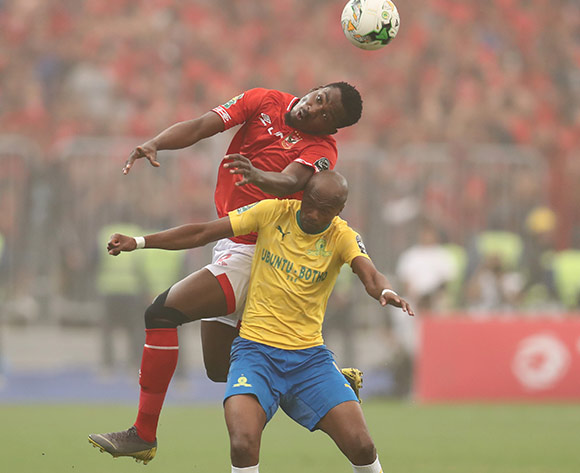 Oluwafemi Junior Ajayi of Al Ahly wins header against Tebogo Langerman of Sundowns during the 2018/19 CAF Champions League football match between Al Ahly and Sundowns at Borg El Arab, Alexandia, Egypt on 13 April 2019 ©Gavin Barker/BackpagePix