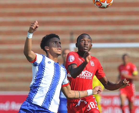 Rushine De Reuck of Maritzburg United challenges Peter Shalulile of Highlands Park during the Absa Premiership match between Highlands Park and  Maritzburg United on the 13 April 2019 at Makhulong Stadium Pic Sydney Mahlangu/ BackpagePix