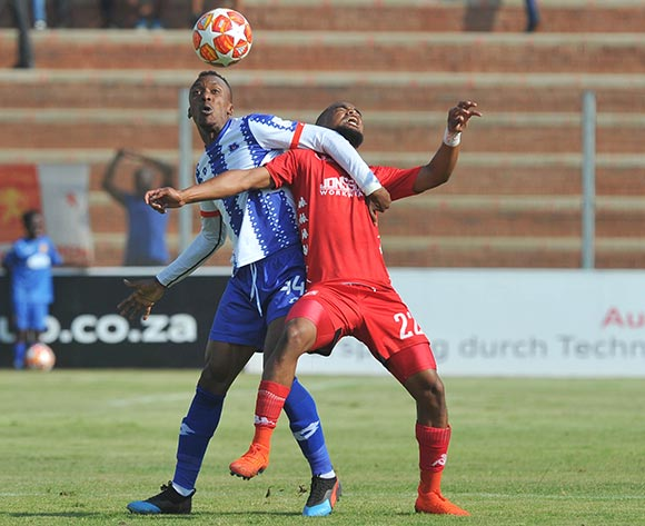 Yannick Zakri of Maritzburg United challenged by Ricardo Williams of Highlands Park during the Absa Premiership match between Highlands Park and  Maritzburg United on the 13 April 2019 at Makhulong Stadium Pic Sydney Mahlangu/ BackpagePix