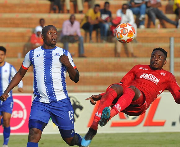 Sello Motsepe of Highlands Park challenges Judas Moseamedi of Maritzburg Uinted   during the Absa Premiership match between Highlands Park and  Maritzburg United on the 13 April 2019 at Makhulong Stadium Pic Sydney Mahlangu/ BackpagePix