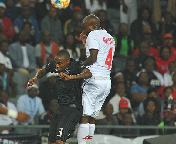 Thembinkosi Lorch of Orlando Pirates challenged by  Makhehleni Makhaula of Free State Stars during the Absa Premiership match between Orlando Pirates and Free State Stars on the 13 April 2019 at Orlando Stadium Pic Sydney Mahlangu/ BackpagePix