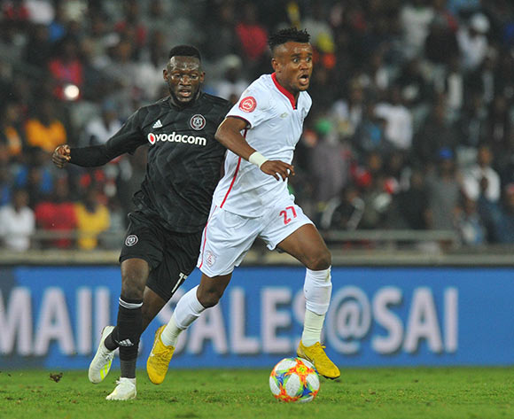 Augustine Mulenga of Orlando Pirates challenges Harris Tchilimbou of Free State Stars during the Absa Premiership match between Orlando Pirates and Free State Stars on the 13 April 2019 at Orlando Stadium Pic Sydney Mahlangu/ BackpagePix