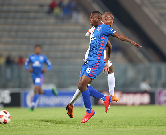 Siyabonga Nhlapo of Supersport United during the Absa Premiership 2018/19 match between Supersport United and Polokwane City at Lucas Moripe Stadium, Pretoria on 13 April 2019 ©Samuel Shivambu/BackpagePix