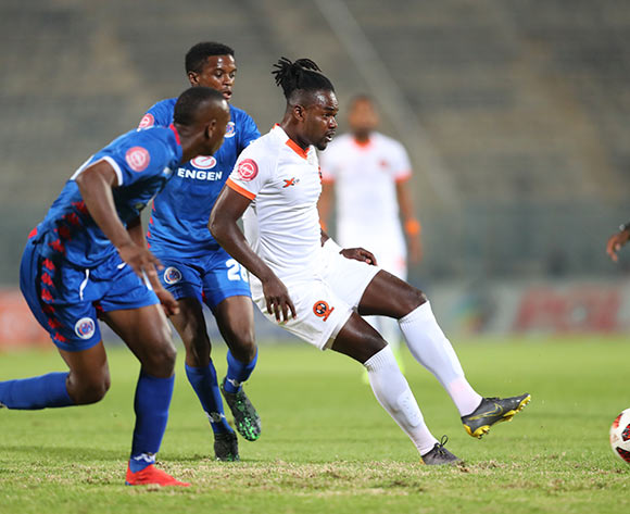 Mohammed Anas of Polokwane City challenged by Siyabonga Nhlapo of Supersport United during the Absa Premiership 2018/19 match between Supersport United and Polokwane City at Lucas Moripe Stadium, Pretoria on 13 April 2019 ©Samuel Shivambu/BackpagePix