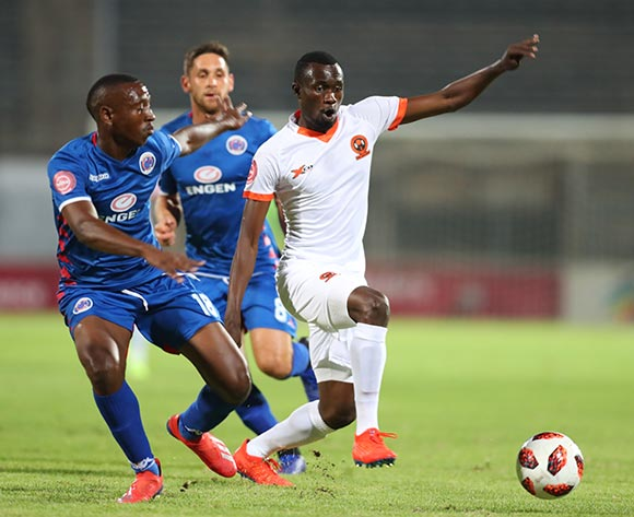 Charlton Mashumba of Polokwane City challenged by Siyabonga Nhlapo of Supersport United during the Absa Premiership 2018/19 match between Supersport United and Polokwane City at Lucas Moripe Stadium, Pretoria on 13 April 2019 ©Samuel Shivambu/BackpagePix