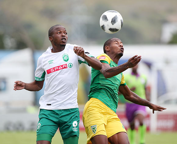 Butholezwe Ncube of AmaZulu challenges Sibusiso Sibeko of Golden Arrows during the Absa Premiership 2018/19 match between Golden Arrows and AmaZulu at the Suger Ray Xulu Stadium, Clermont on the 14 April 2019 ©Muzi Ntombela/BackpagePix