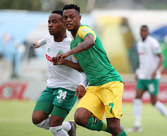 Richard Matloga of Golden Arrows challenged by Sphesihle Maduna of AmaZulu during the Absa Premiership 2018/19 match between Golden Arrows and AmaZulu at the Suger Ray Xulu Stadium, Clermont on the 14 April 2019 ©Muzi Ntombela/BackpagePix