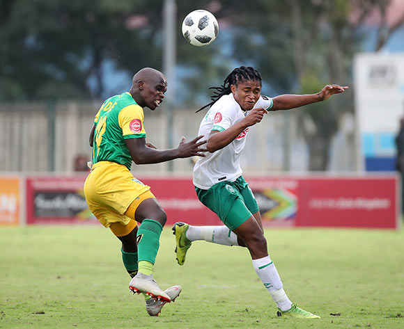 Siyethemba Sithebe of AmaZulu challenged by Siyabonga Dube of Golden Arrows during the Absa Premiership 2018/19 match between Golden Arrows and AmaZulu at the Suger Ray Xulu Stadium, Clermont on the 14 April 2019 ©Muzi Ntombela/BackpagePix