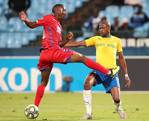 Tebogo Langerman of Mamelodi Sundowns challenged by Siya Nhlapo of Supersport United during the Absa Premiership 2018/19 match between Mamelodi Sundowns and Supersport United at the Loftus Versveld Stadium, Pretoria on the 17 April 2019 ©Muzi Ntombela/BackpagePix