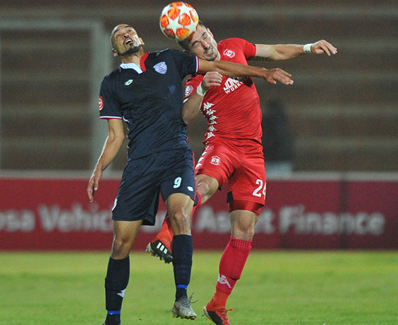 Eleazar Rodgers of Free State Stars challenges Ryan Rae of Highlands Park during the Absa Premiership match between Highlands Park and Free State Stars on the 17 April 2019 at Makhulong Stadium Pic Sydney Mahlangu/ BackpagePix