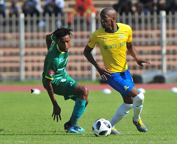 Anel Ngcongca of Mamelodi Sundowns and Matome Mabeba of Baroka FC during the Absa Premiership 2018/19 game between Baroka FC and Mamelodi Sundowns at Peter Mokaba Stadium in Polokwane the on 20 April 2019 © Kabelo Leputu/BackpagePix