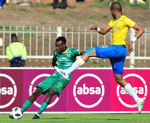 Tshidiso Patjie of Baroka FC and Tiyani Mabunda of Mamelodi Sundowns during the Absa Premiership 2018/19 game between Baroka FC and Mamelodi Sundowns at Peter Mokaba Stadium in Polokwane the on 20 April 2019 © Kabelo Leputu/BackpagePix