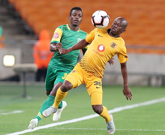 Siphosakhe Ntiya Ntiya of Kaizer Chiefs challenged by Siboniso Conco of Golden Arrows during the Absa Premiership 2018/19 match between Kaizer Chiefs and Golden Arrows at the FNB Stadium, Johannesburg on the 23 April 2019 ©Muzi Ntombela/BackpagePix