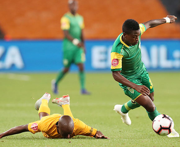 Siboniso Conco of Golden Arrows challenged by Siphosakhe Ntiya Ntiya of Kaizer Chiefs  during the Absa Premiership 2018/19 match between Kaizer Chiefs and Golden Arrows at the FNB Stadium, Johannesburg on the 23 April 2019 ©Muzi Ntombela/BackpagePix