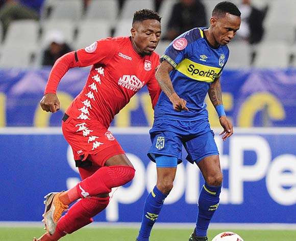 Surprise Ralani of Cape Town City is challenged by Sello Motsepe of Highlands Park during the Absa Premiership 2018/19 game between Cape Town City and Highlands Park at Cape Town Stadium on 23 April 2019 © Ryan Wilkisky/BackpagePix