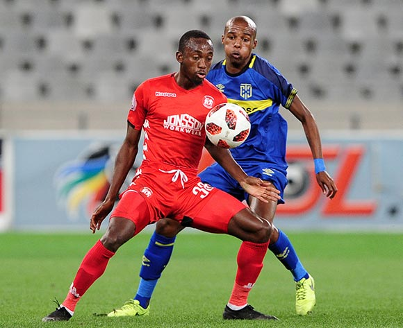 Peter Shalulile of Highlands Park shields the ball ahead of Zukile Kewuti of Cape Town City during the Absa Premiership 2018/19 game between Cape Town City and Highlands Park at Cape Town Stadium on 23 April 2019 © Ryan Wilkisky/BackpagePix
