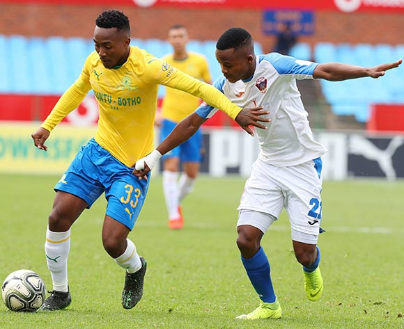 Sibusiso Vilakazi of Mamelodi Sundowns challenged by Tebogo Tlolane of Chippa United during the Absa Premiership 2018/19 match between Mamelodi Sundowns and Chippa United at Loftus Versfeld Stadium, Pretoria on 23 April 2019 ©Samuel Shivambu/BackpagePix