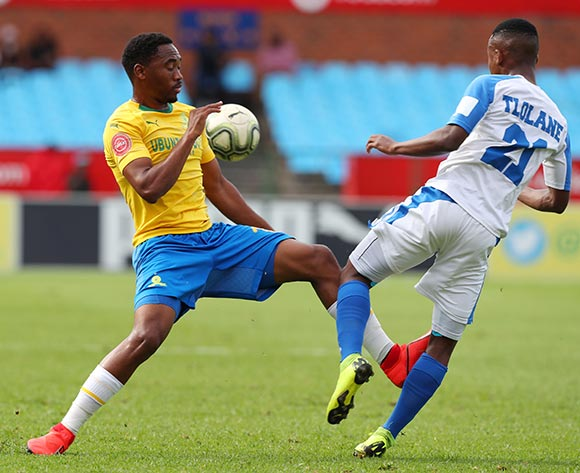 Tebogo Tlolane of Chippa United challenged by Sibusiso Vilakazi of Mamelodi Sundowns during the Absa Premiership 2018/19 match between Mamelodi Sundowns and Chippa United at Loftus Versfeld Stadium, Pretoria on 23 April 2019 ©Samuel Shivambu/BackpagePix