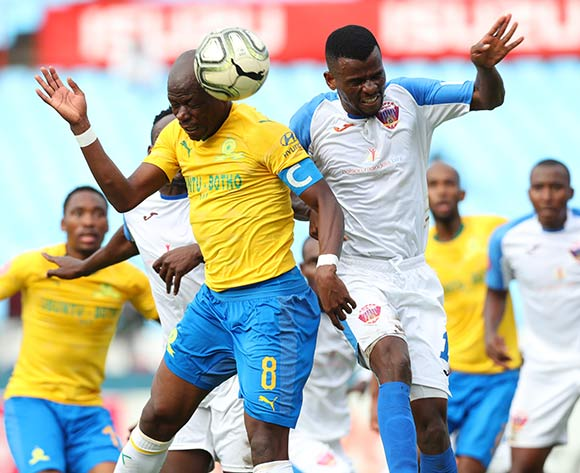 Hlompho Kekana of Mamelodi Sundowns challenged by Tebogo Makobela of Chippa United during the Absa Premiership 2018/19 match between Mamelodi Sundowns and Chippa United at Loftus Versfeld Stadium, Pretoria on 23 April 2019 ©Samuel Shivambu/BackpagePix