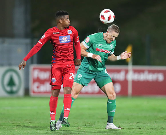 George Lebese of Supersport United and Michael Morton of Amazulu during the Absa Premiership 2018/19 game between Amazulu and Supersport United at King Zwelithini Stadium in Durban the on 24 April 2019 ©/BackpagePix