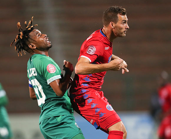 Bradley Grobler of Supersport United and Nhlanhla Vilakazi of Amazulu during the Absa Premiership 2018/19 game between Amazulu and Supersport United at King Zwelithini Stadium in Durban the on 24 April 2019 ©/BackpagePix