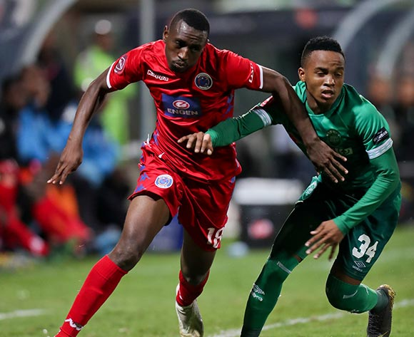 Siyabonga Nhlapo of Supersport United and Sphesihle Maduna of Amazulu during the Absa Premiership 2018/19 game between Amazulu and Supersport United at King Zwelithini Stadium in Durban the on 24 April 2019 ©BackpagePix