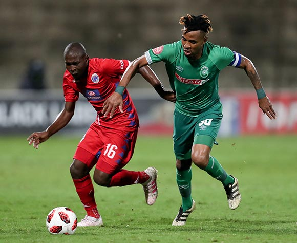 Aubrey Modiba of Supersport United and Nhlanhla Vilakazi of Amazulu during the Absa Premiership 2018/19 game between Amazulu and Supersport United at King Zwelithini Stadium in Durban the on 24 April 2019 ©BackpagePix