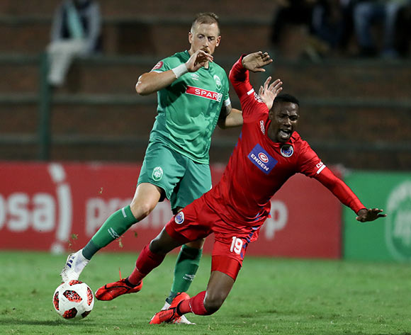 Evans Rusike of Supersport United and Michael Morton of Amazulu during the Absa Premiership 2018/19 game between Maritzburg United and Orlando Pirates at Harry Gwala Stadium in Durban the on 24 April 2019 ©BackpagePix