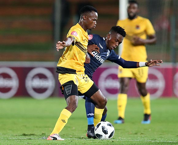 Phathutshedzo Nange of Black Leopards challenged by Thabang Moerane of Bidvest Wits during the Absa Premiership 2018/19 match between Bidvest Wits and Black Leopards at the Bidvest Stadium, Johannesburg on the 24 April 2019 ©Muzi Ntombela/BackpagePix