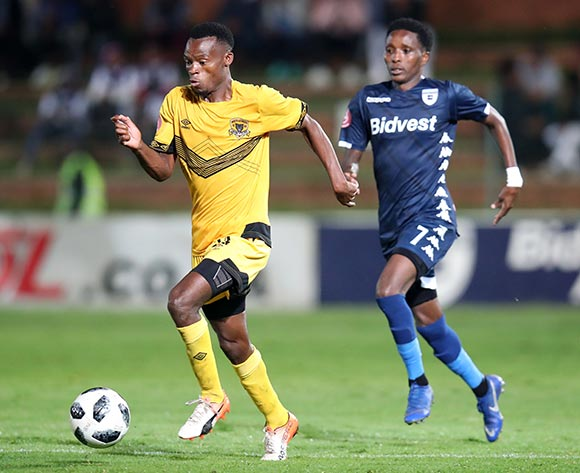 Phathutshedzo Nange of Black Leopards challenged by Elias Pelembe of Bidvest Wits during the Absa Premiership 2018/19 match between Bidvest Wits and Black Leopards at the Bidvest Stadium, Johannesburg on the 24 April 2019 ©Muzi Ntombela/BackpagePix