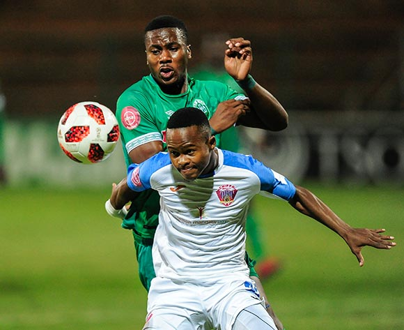 Bonginkosi Ntuli of AmaZulu FC try to get past Tebogo Tlolane of Chippa United F.C. during the Absa Premiership 2018/19 game between AmaZulu and Chippa United at King Zwelithini Stadium on 6 April 2019 © Gerhard Duraan/BackpagePix