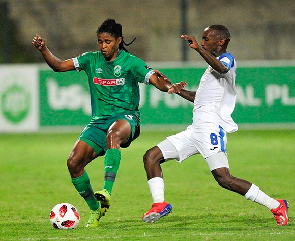 Thabo Rakhale of Chippa United F.C. challenges Siyethemba Sithebe of AmaZulu FC during the Absa Premiership 2018/19 game between AmaZulu and Chippa United at King Zwelithini Stadium on 6 April 2019 © Gerhard Duraan/BackpagePix